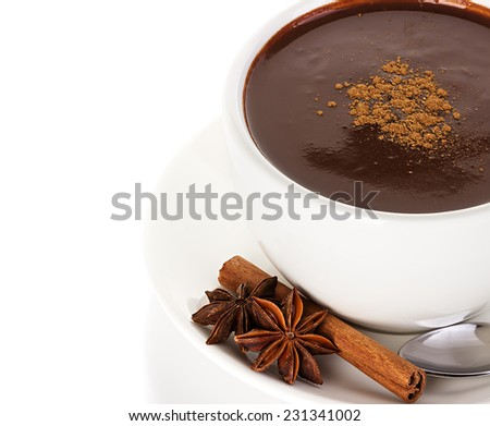 Hot chocolate with cinnamon and anise isolated on white background - stock photo