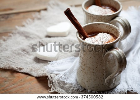 Hot Chocolate with heart shape marshmallow - stock photo