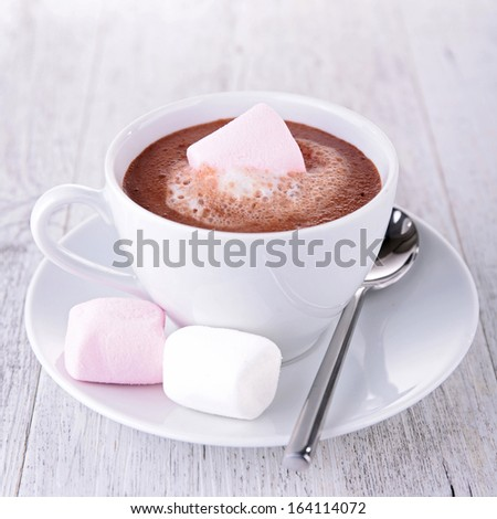 hot chocolate with marshmallows - stock photo