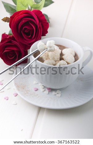 Hot chocolate with marshmallows for special day - stock photo