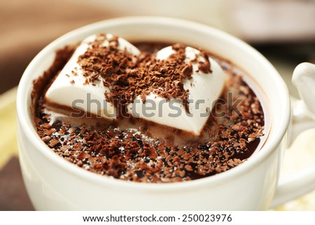 Hot chocolate with marshmallows in mug, close-up - stock photo