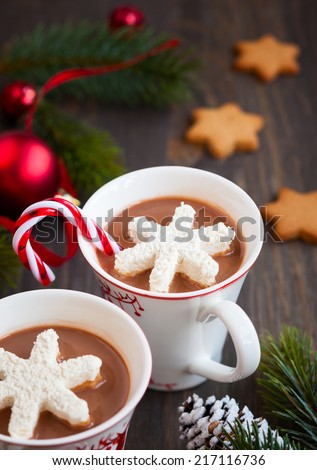 Hot chocolate with marshmallows snowflakes - stock photo