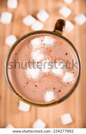 Hot Chocolate With Marshmallows - This is a shot of a hot cup of hot chocolate with marshmallows. Shot directly overhead.  - stock photo