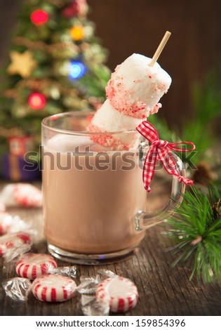 Hot chocolate with peppermint candies coated marshmallows