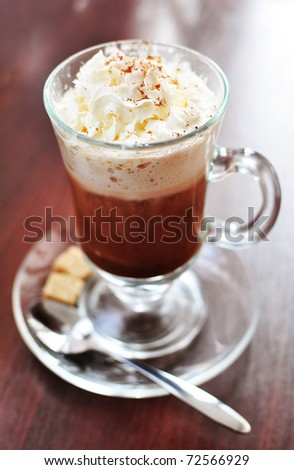 Hot chocolate with whipped cream - stock photo