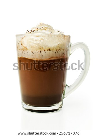 Hot chocolate with whipped cream in a glass bowl isolated on white - stock photo