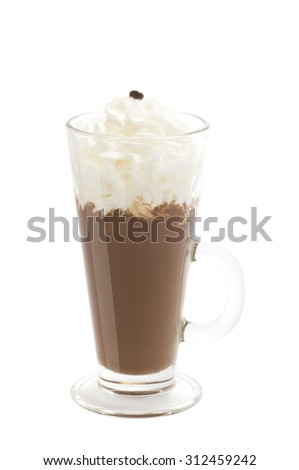Hot chocolate with whipped cream isolated on white background