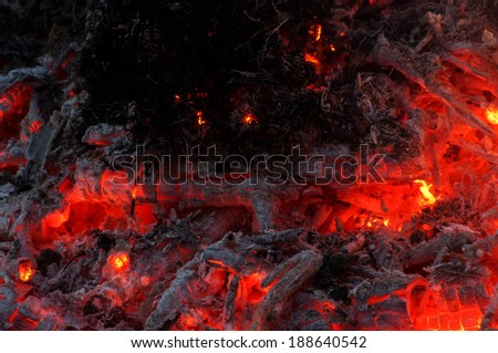 Hot coal after fire abstract - stock photo