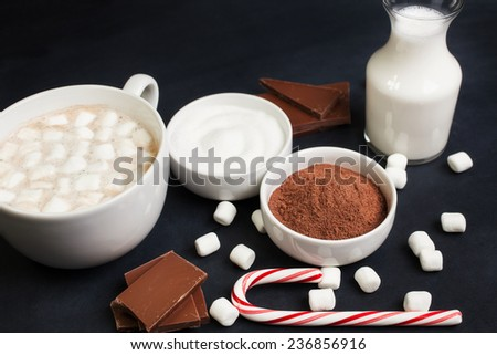 Hot Cocoa in White Mug with Marshmallows, Candy Cane, and ingredients - stock photo