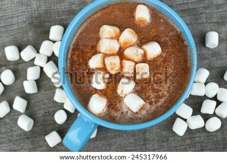hot cocoa with marshmallows,milk, and chocolate,cinnamon sticks,chocolate - stock photo