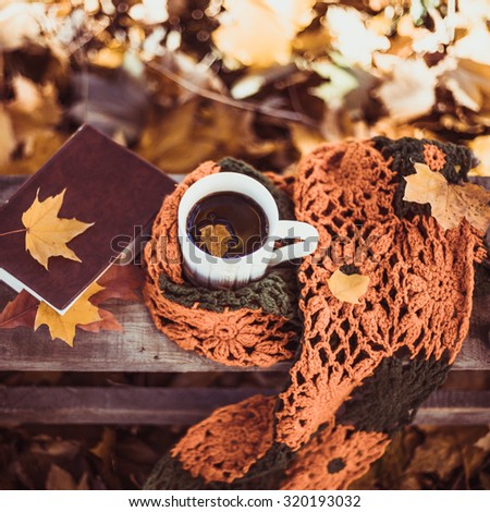 Hot coffee and red book with autumn leaves on wood background - seasonal relax concept  - stock photo