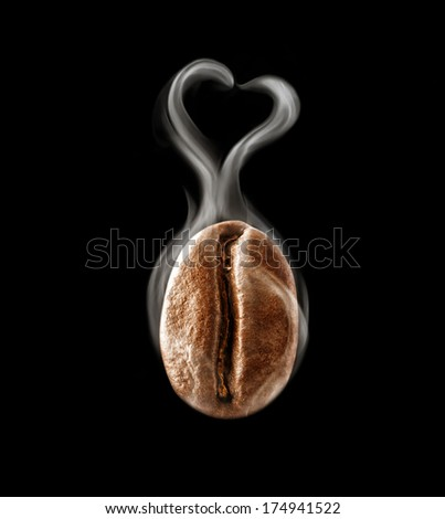Hot coffee bean in a heart-shaped steam - stock photo