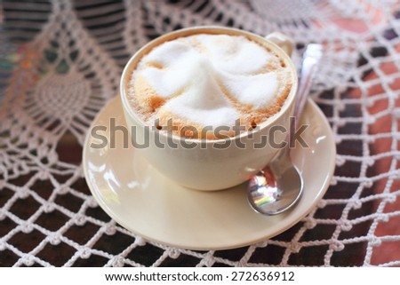 Hot coffee cappuccino on a table