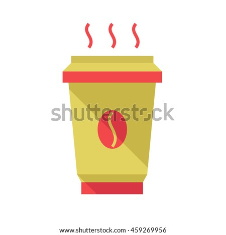 Hot coffee cup, flat style illustration. Coffee to go.