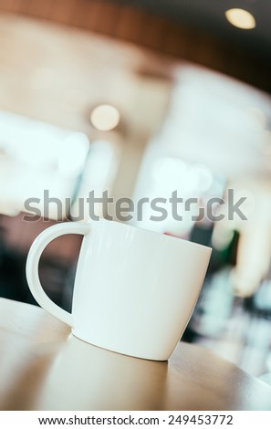 Hot Coffee cup in coffee shop - vintage effect style pictures - stock photo