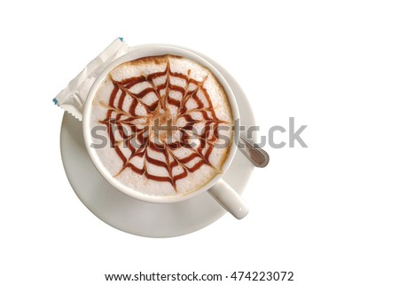 hot coffee isolated on white background