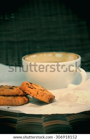 Hot coffee with cookies
