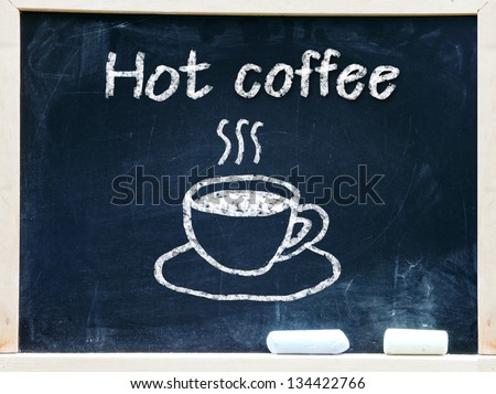 Hot coffee written on a chalkboard.