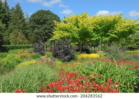 Hot coloured flowers in a traditional English country garden in Rosemoor, Torrington, Devon, England, UK - stock photo