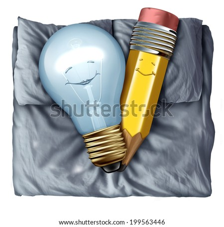 Hot creative and creativity concept as a lightbulb and pencil sleeping in bed together as a synergy metaphor of two partners for a successful collaboration uniting skills for an energetic union. - stock photo