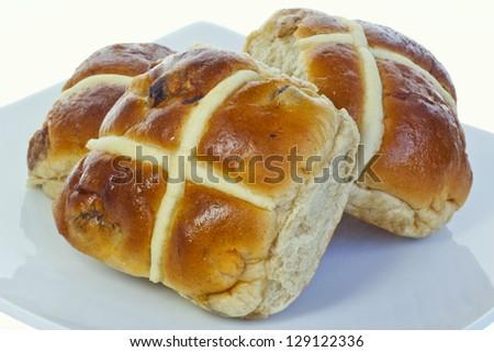 Hot cross buns. - stock photo