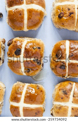 Hot cross buns, Ariel view of spiced sweet bread coated in sweet honey in rows on baking sheet paper  - stock photo