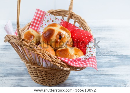 Hot Cross Buns in Basket. Easter Greeting Card. - stock photo