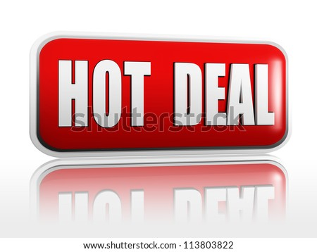 hot deal 3d red banner with white text - stock photo