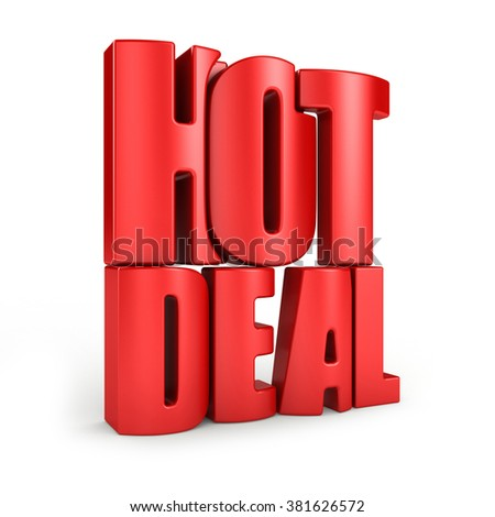 Hot deal 3d text isolated over white background - stock photo