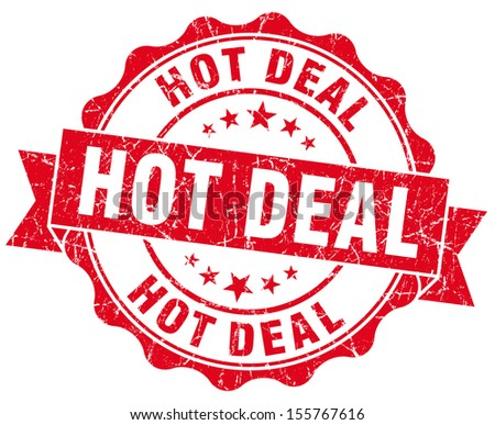 hot deal red grunge stamp - stock photo