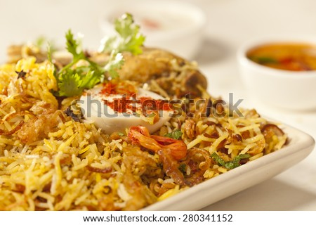 Hot delicious chicken biryani from India - stock photo
