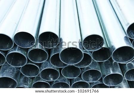 hot-dip galvanized steel pipe - stock photo