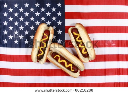 Hot Dog! A pipping hot Hot Dog in a bun with yellow mustard american flag. The perfect image for all your Hot Dog photo needs. - stock photo