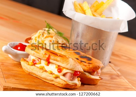 Hot dog and french fries - stock photo