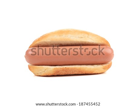 Hot dog bread and sausage roll. Isolated on a white background. - stock photo