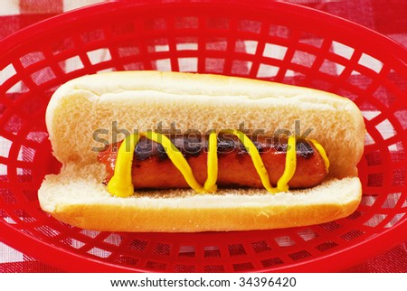 Hot Dog in bun with mustard in plastic basket on picnic table