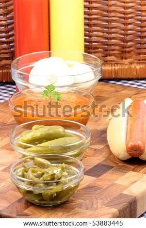 hot dog ingredients on a nice table setting rich in colors and flavors perfect for pick nicks - stock photo