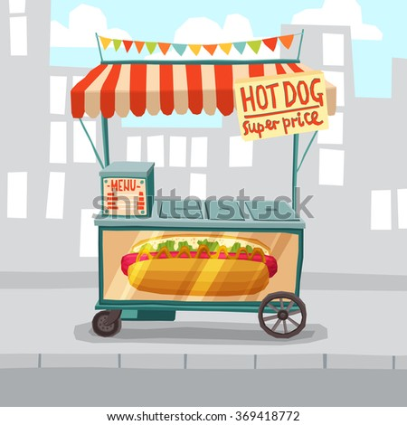 street sale cart fruits vegetables cartoon stock vector 311346077 shutterstock. Black Bedroom Furniture Sets. Home Design Ideas