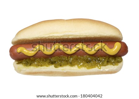 Hot dog with bun, mustard, and relish on white background