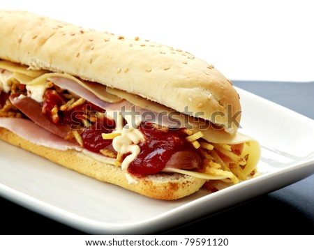 hot dog with cheese and ham - stock photo