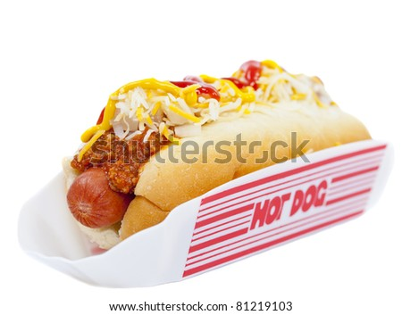 Hot dog with chili, raw onion and sauce on white - stock photo