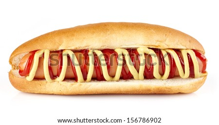 Hot dog with ketchup and mustard on white background - stock photo