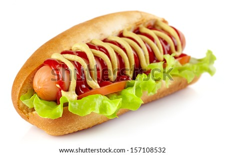 Hot dog with lettuce and tomato on white background - stock photo