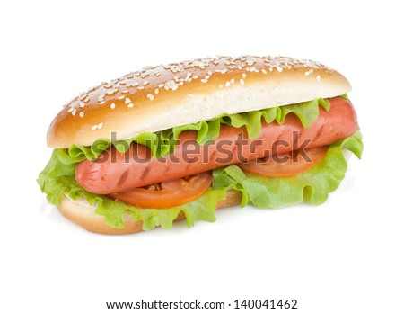 Hot dog with lettuce and tomato slices. Isolated on white background - stock photo