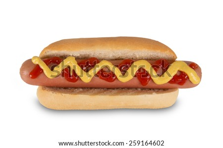 Hot dog with mustard and ketchup. Isolated on white background - stock photo