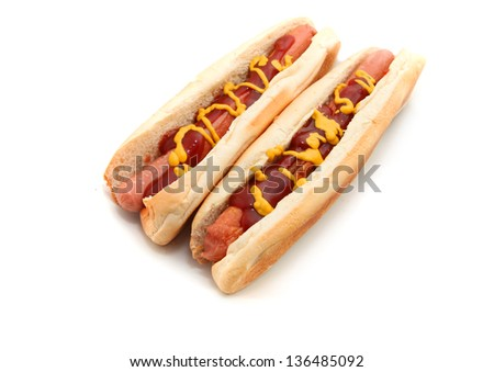 hot dog with mustard and tomato sauce Isolated on white background - stock photo
