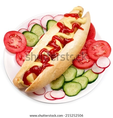 Hot dog with salad in a plate, top view - stock photo