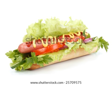 Hot dog with vegetables on a white background - stock photo