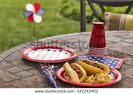 Hot dogs at a July 4th cookout are dressed with ketchup and mustard and are served with potato chips.  This image is in one in a series of patriotically themed images. - stock photo