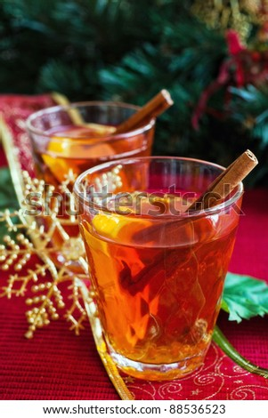 Hot drink with christmas decorations - stock photo